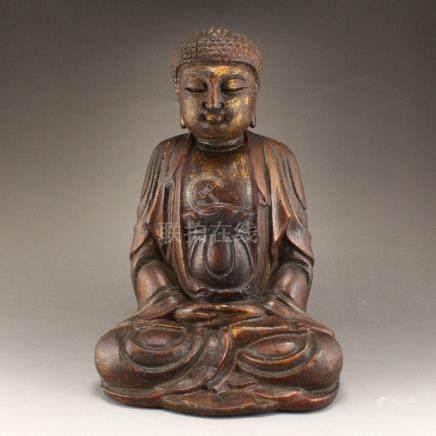 Gilt Gold Chenxiang Wood Sakyamuni Buddha Statue