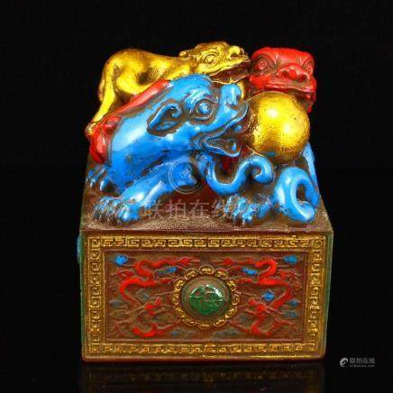 Vintage Gilt Gold Peking Glass Lucky Beasts Seal