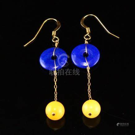 18k Gold & Natural Lapis Lazuli And Amber Earrings