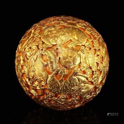 Tibetan Silver Gilt Gold Divine Beasts Fengshui Ball