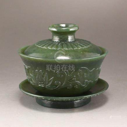 Superb Chinese Green Hetian Jade Low Relief Teabowl