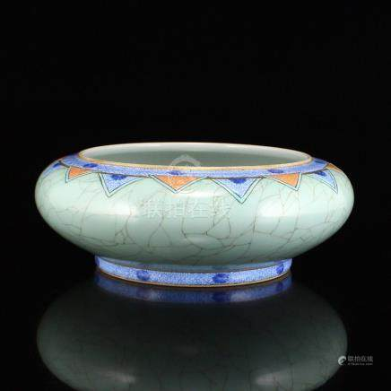 Chinese Gilt Edges Blue Glaze Porcelain Brush Washer