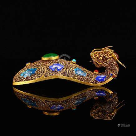 Gold Wire Enamel Inlay Gems Dragon Head Belt Buckle