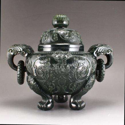 Deep Green Hetian Jade Double Rings Incense Burner