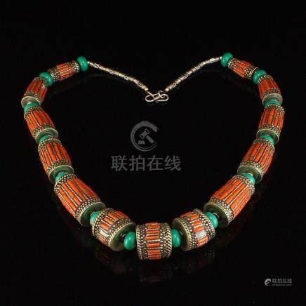Vintage Tibetan Silver Inlay Turquoise & Coral Necklace