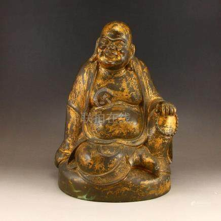 Chinese Gilt Gold Red Copper Laughing Buddha Statue