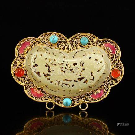 Openwork Gold Wires Inlay Hetian Jade & Gem Pendant
