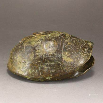 Vintage Chinese Bronze Augur Turtle Shell Statue