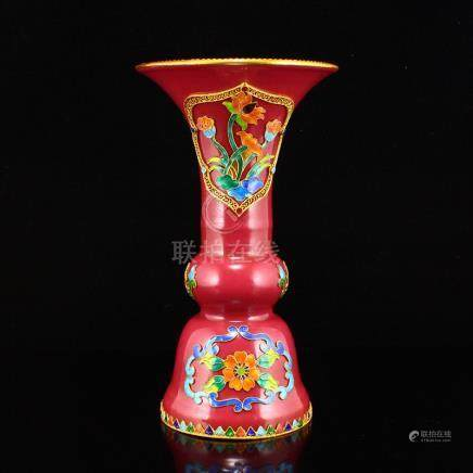 Rouge Red Glaze Inlay Gold Wire Enamel Porcelain Vase