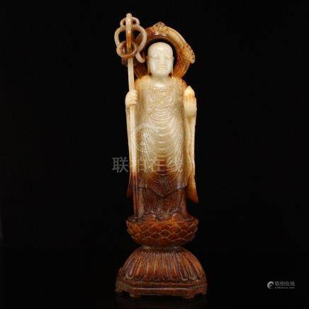 Superb Chinese Hetian Jade Ksitigarbha Statue