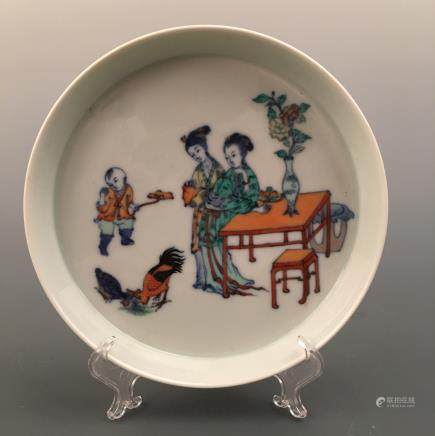 Chinese Doucai 'Figure' Dish, Yongzheng Mark
