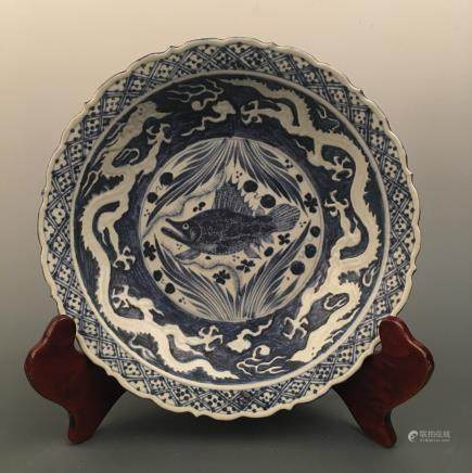Chinese Blue-White 'Fish & Dragon' Dish