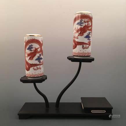 Chinese Famille Rose 'Dragon' Bottle Pair, Kangxi Mark