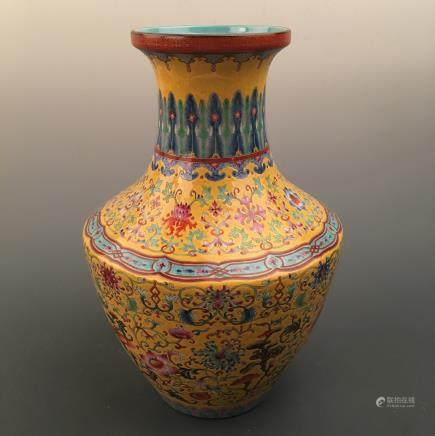 Chinese Famille Rose Vase, Qianlong Mark