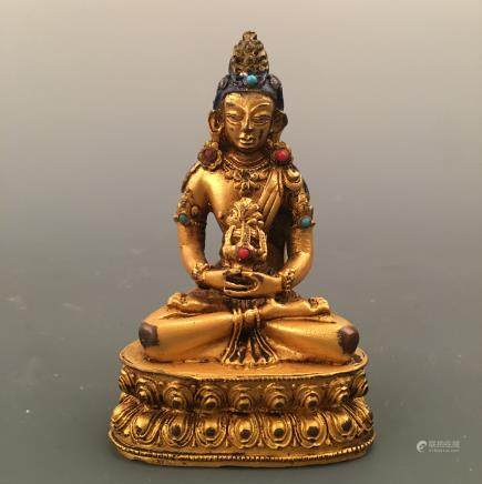 Chinese Gilt Bronze Buddha Figure Inlaid Gemstones