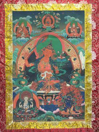 Chinese Thangka Painting on Silk
