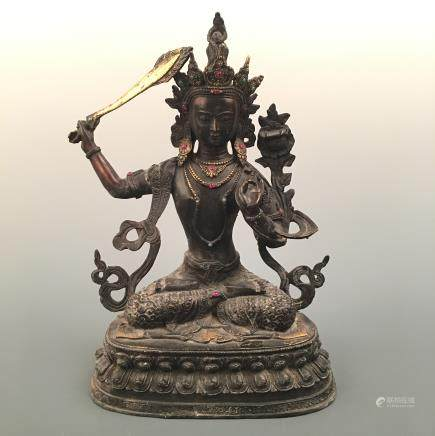 Chinese Bronze Manjushri Figure Inlaid Gemstones