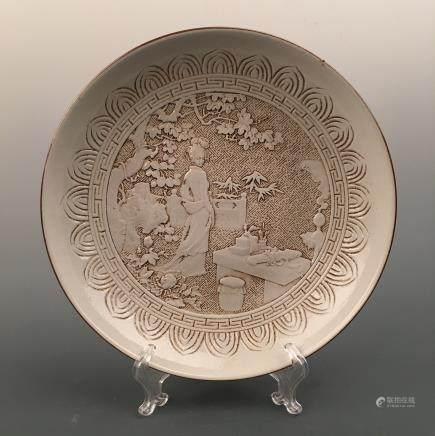 Chinese Engraved 'Beauty' Plate, Wang Bingrong Mark
