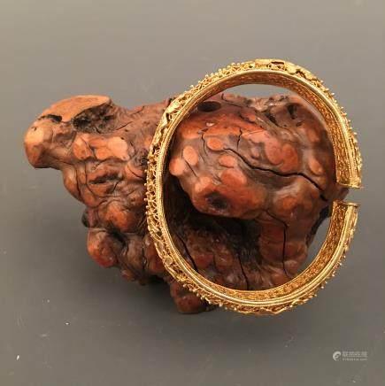 Chinese Gilt Bronze Bracelet Openwork