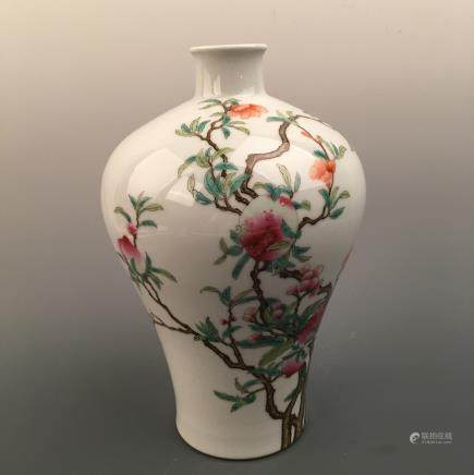 Chinese Famille Rose 'Peach' Meiping Vase, Qianlong Mark