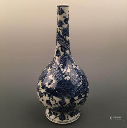 Chinese Blue-White 'Dragon' Bottle Vase, Kangxi Mark