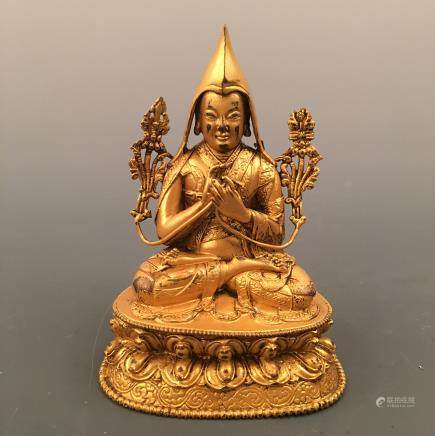 Chinese Gilt Bronze Tsong Kha Pa Figure
