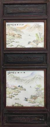 Chinese Wood Framed 'Landscape' Light Colorful Porcelain Painting