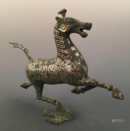 Chinese Silvering and Gold Plating 'Horse' Figure