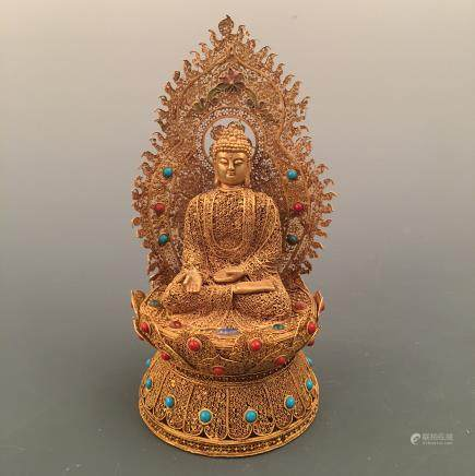 Chinese Gilt Amitabha Figure Inlaid Gemstones