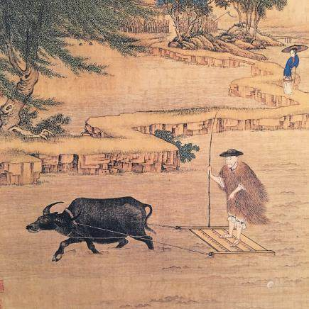 Chinese Hanging Scroll of 'Farm Work' Painting
