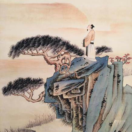Chinese Hanging Scroll of 'Figure and Landscape' Painting