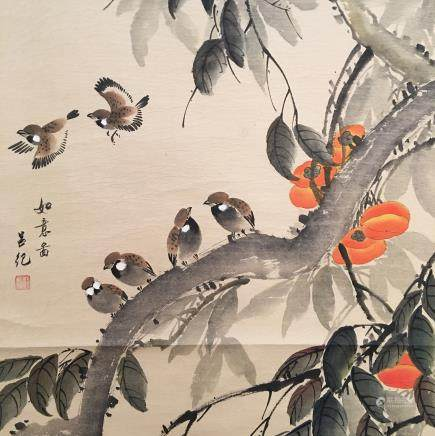 Chinese Hanging Scroll of 'Birds' Painting