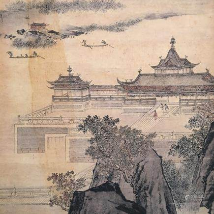 Chinese Hanging Scroll of 'Bai Yu Lou' Painting