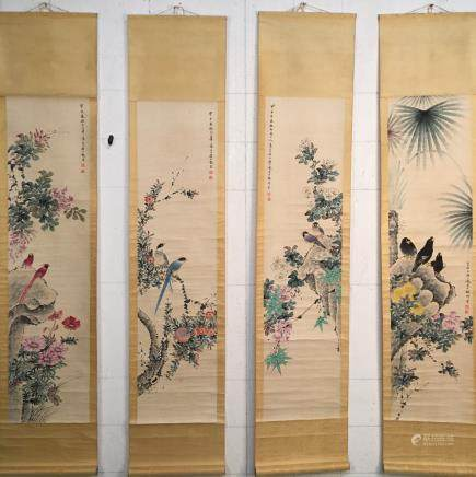 4 Pieces of Chinese Hanging Scroll of 'Birds & Flowers' Painting, Yan Bolong Signature