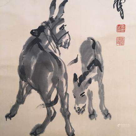 Chinese Hanging Scroll of 'Donkey' Painting, Shen Quan Signature