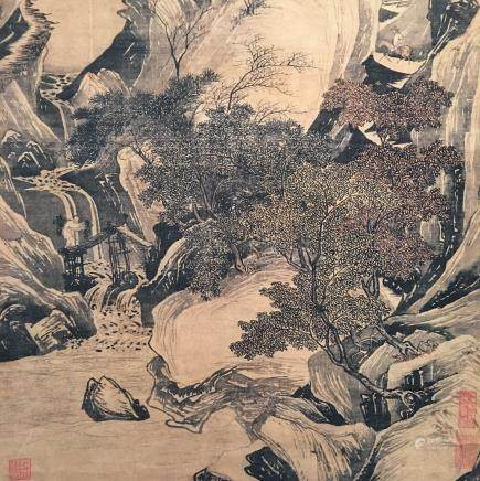 Chinese Hanging Scroll of 'Landscape' Painting, Tang Yin Signature