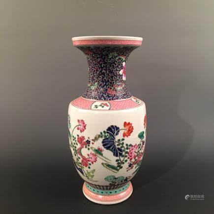 Chinese Famille Rose 'Floral' Vase, Kangxi Mark