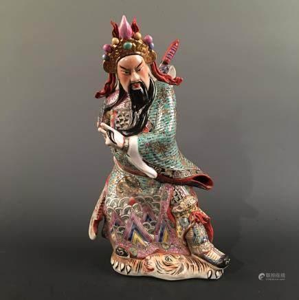 Chinese Famille Rose 'Guan Yu' Figure Statue