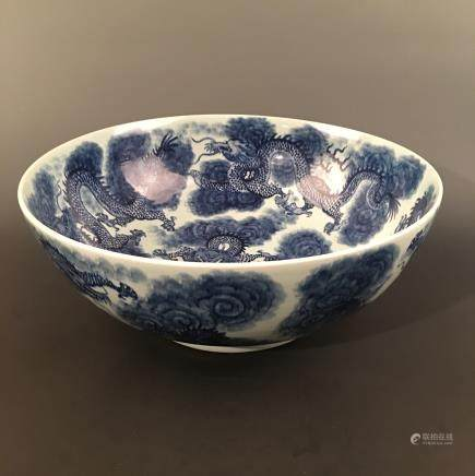 Chinese Blue-White 'Dragon' Plate, Kangxi Mark