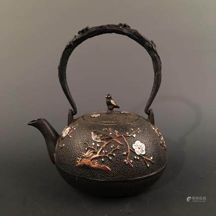 Chinese Iron 'Bird&Flower' Teapot