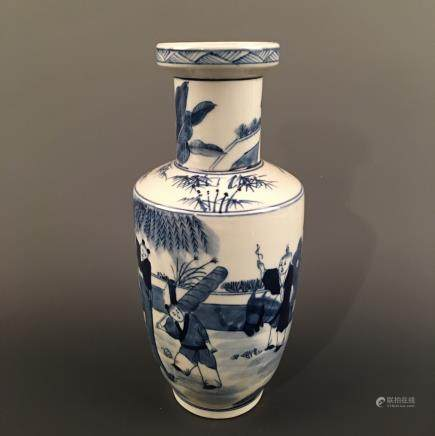 Chinese Blue-White 'Figure' Vase, Kangxi Mark