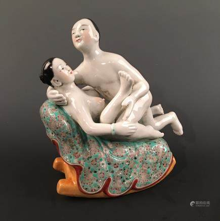 Chinese Famillie Rose Erotic Figures