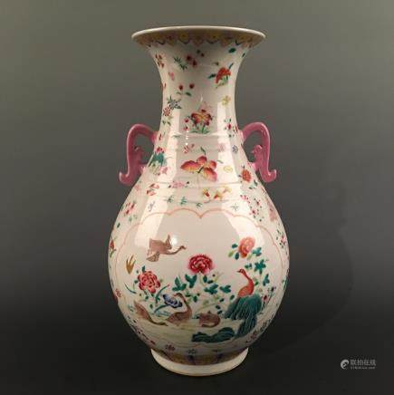 Chinese Famille Rose 'Bird & Floral' Vase, Qianlong Mark