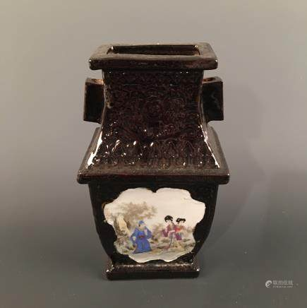 Chinese Black Glazed 'Figure' Square Vase