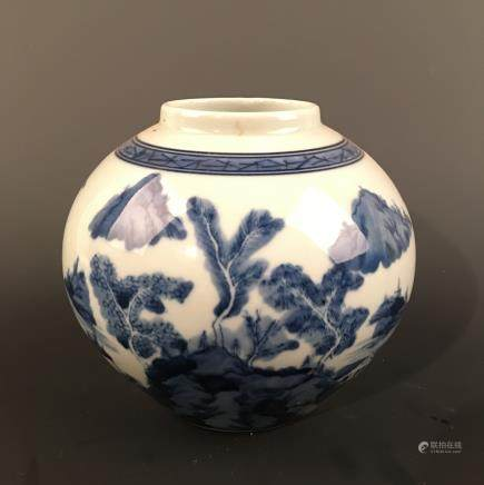 Chinese Blue-White 'Landscape' Jar, Kangxi Mark