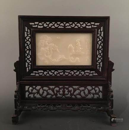 Chinese Hardwood Jade Table Screen