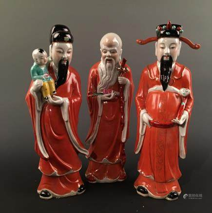 Chinese Famille Rose 'Fu' 'Lu' 'Shou' ( three gods of fortune prosperity and longevity) Figure Statue