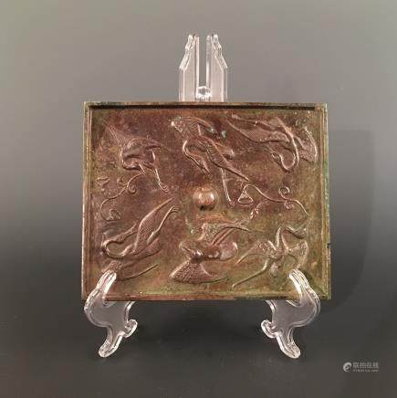 Chinese Bronze Square Mirror