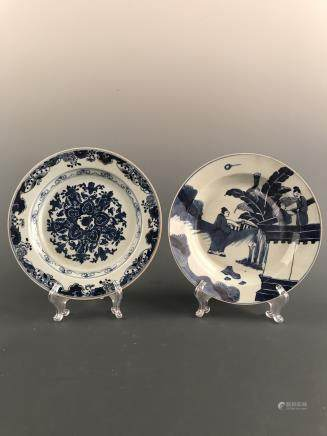 A Pair of Chinese Blue-White Plate