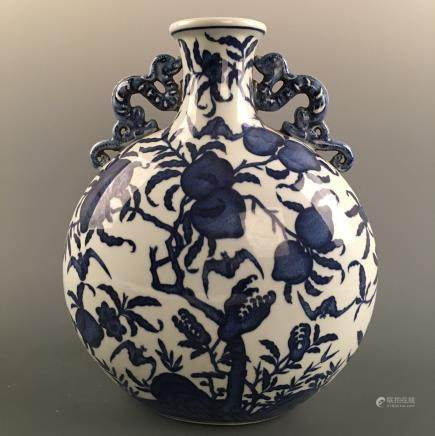 Chinese Blue-White 'Peach' Moon Flask Vase